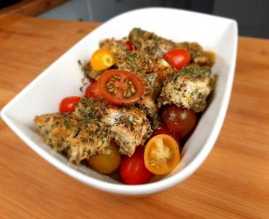 Dorsz smażony z cytryną i pomidorkami