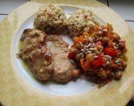Warzywne ragout z cieciorka i nutą curry i masła/Bulgur kasza z vermicelli