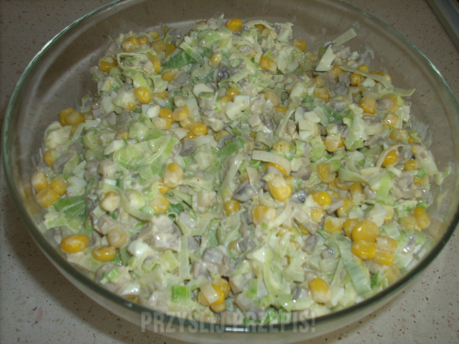 Salatka Z Porow I Pieczarek Przyslijprzepis Pl
