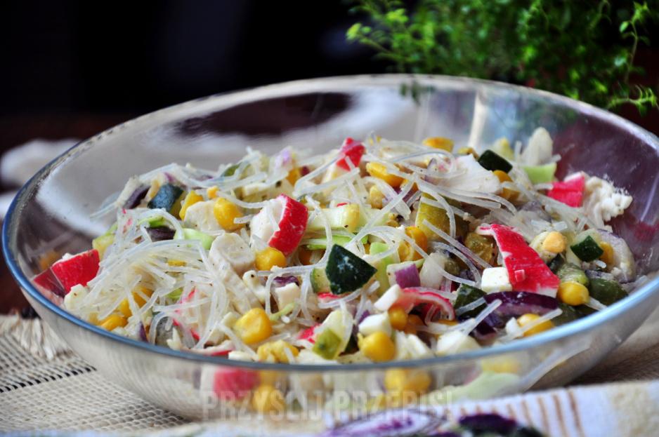 Salatka Surimi Z Makaronem Ryzowym Przyslijprzepis Pl