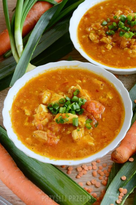 Zupa Curry Z Czerwona Soczewica I Kurczakiem Przyslijprzepis Pl