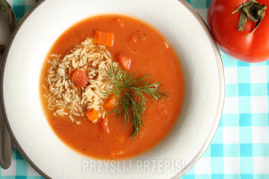 Zupa Pomidorowa Z Brązowym Ryżem Przyslijprzepispl