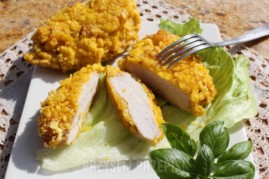Filet Z Piersi Kurczaka Pieczony W Platkach Kukurydzianych