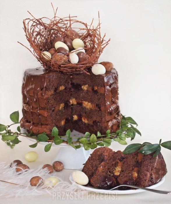 Rustykalny Tort Czekoladowy Z Kajmakiem I Powidłem Przyslijprzepispl