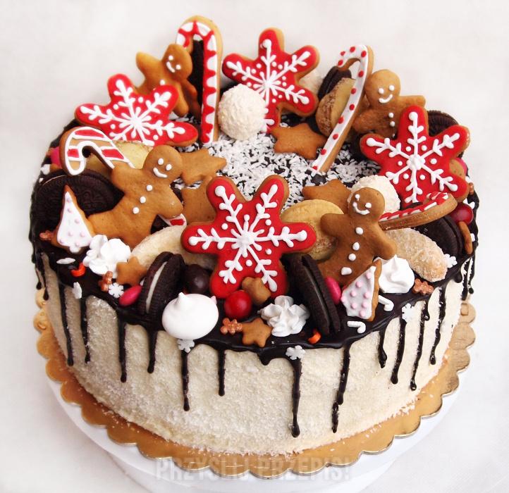 Pyszny Tort Ze świąteczną Dekoracją